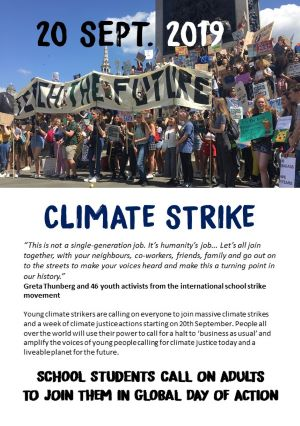 Climate strike 20 September - adults to join youth strikers